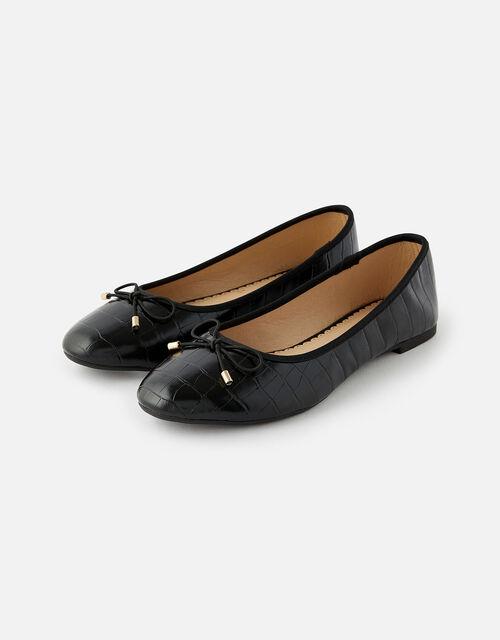 Croc Ballerina Flats, Black (BLACK), large