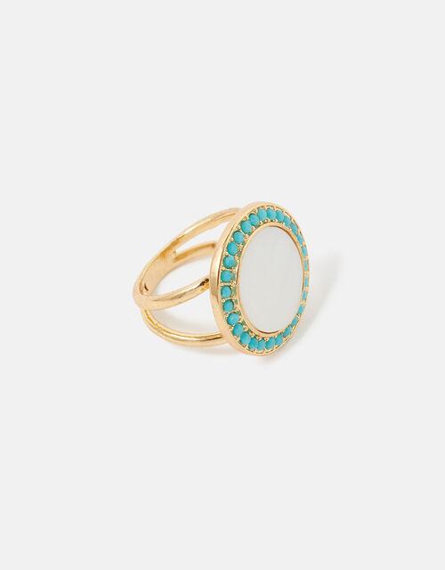 Feel Good Statement Enamel Ring, Cream (PEARL), large