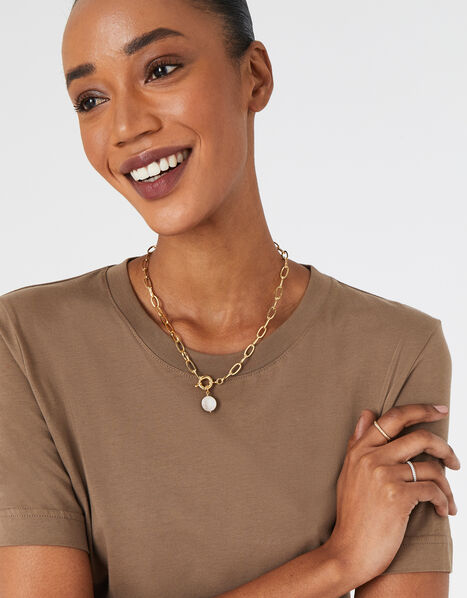 Gold-Plated Chain and Pearl Collar Necklace, , large