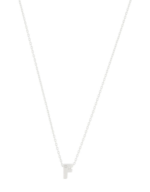 Sterling Silver Sparkle Initial Necklace - F, , large