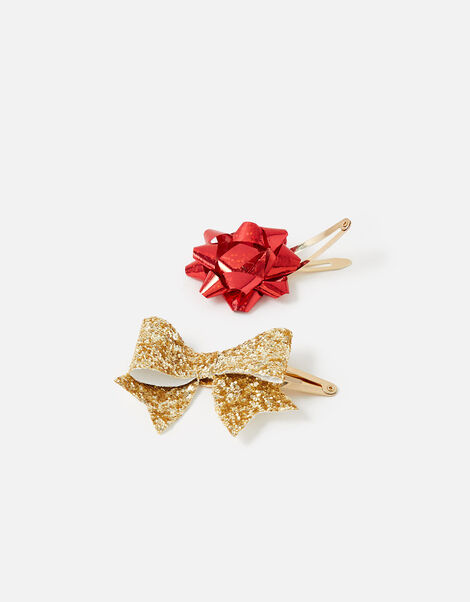 Present Bow Hair Clips, , large