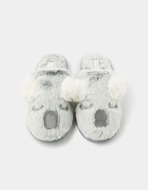 Koala Fluffy Slippers, Grey (GREY), large