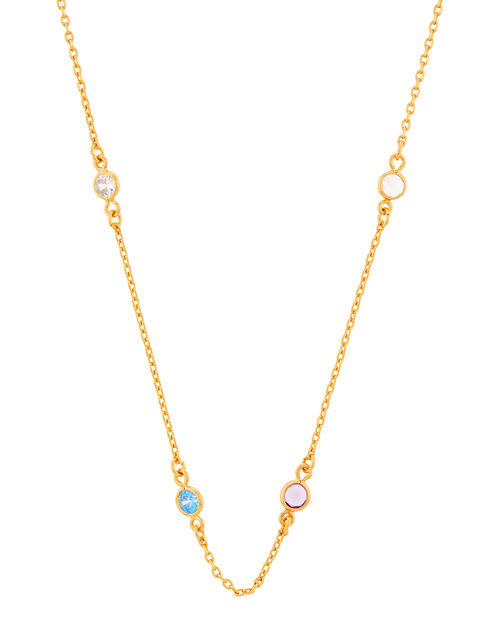 Gold-Plated Rainbow Station Necklace, , large