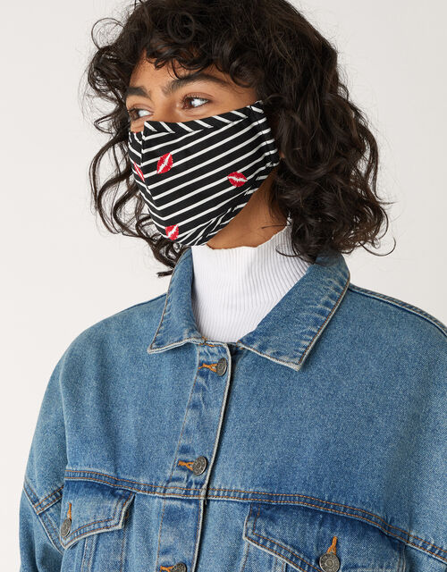 Stripe and Lip Face Covering in Pure Cotton, , large