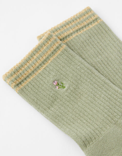 Embroidered Flower Socks, , large