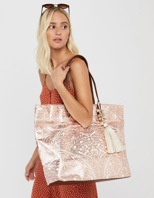 Kea Metallic Print Beach Tote Bag, , large