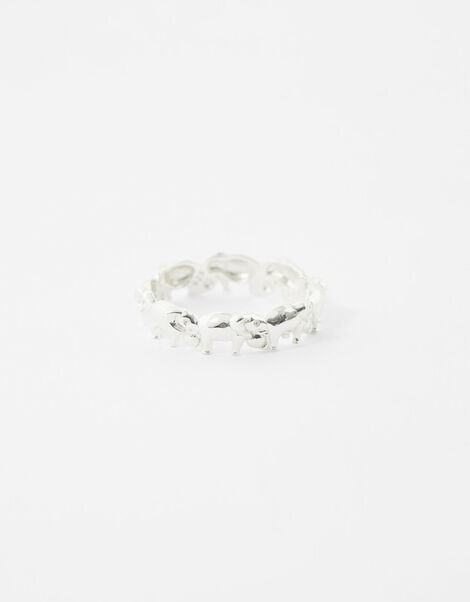 Sterling Silver Elephant Band Ring Silver, Silver (ST SILVER), large