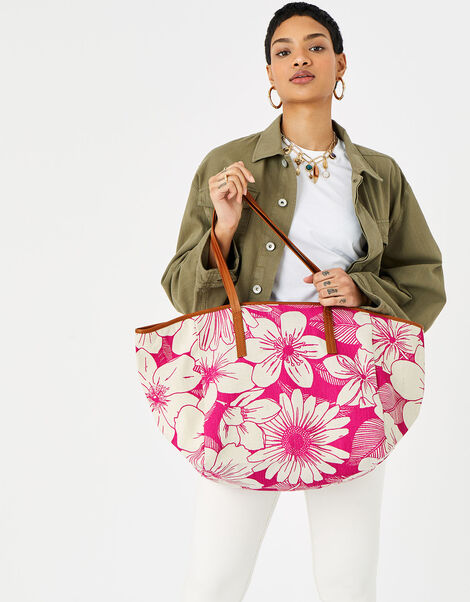 Perla Print Shopper  Pink, Pink (PINK), large