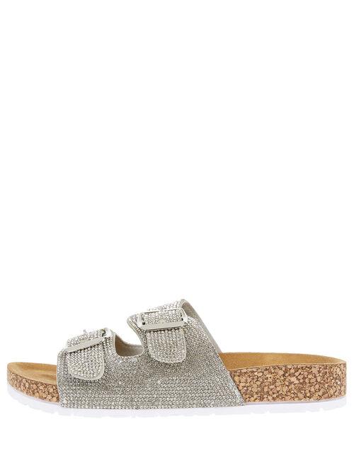 Diamante Buckle Sliders, Silver (SILVER), large