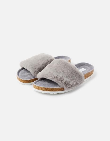 Symone Fluffy Slider Slippers Grey, Grey (GREY), large