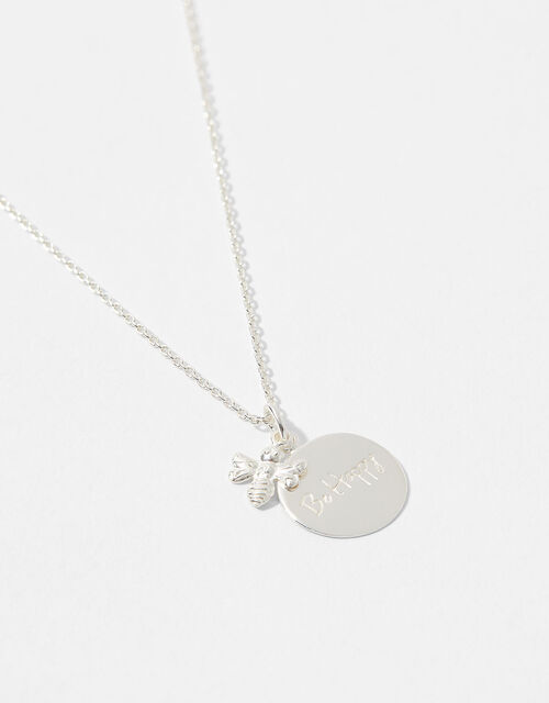 Sterling Silver Bee Happy Necklace, , large