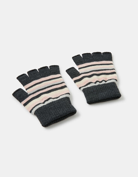 Stripe Fingerless Knit Gloves Multi, Multi (PASTEL-MULTI), large