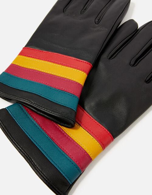 Rainbow Cuff Leather Gloves, Black (BLACK), large
