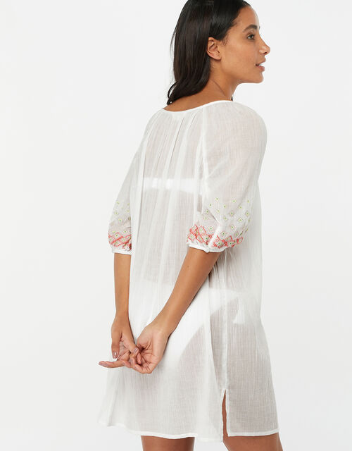 Evie Embroidered Cotton Crop Sleeve Dress, White (WHITE), large