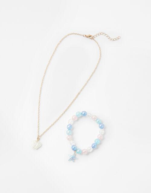 Shell Necklace and Starfish Bracelet Set, , large
