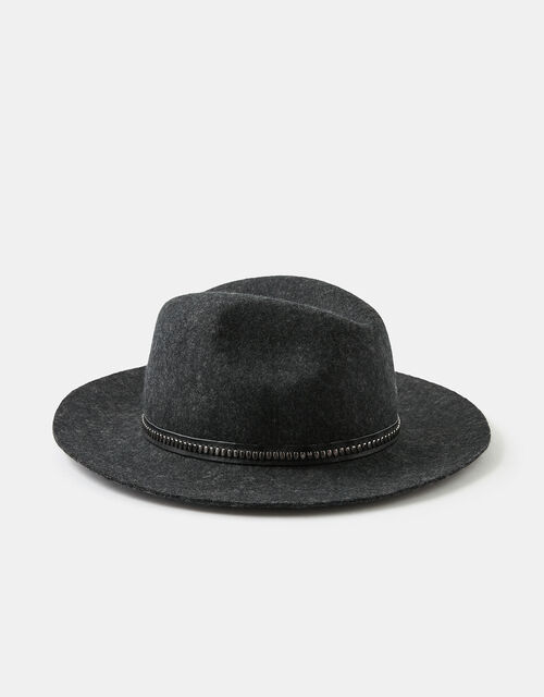 Chain Trim Fedora in Pure Wool, Black (BLACK), large