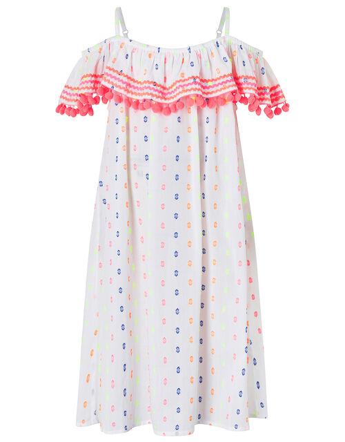 Dobby Spot Bardot Dress with Pom-Pom Trim, White (WHITE), large