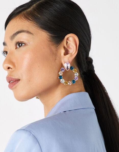 Multicoloured Gem Doorknocker Earrings, , large