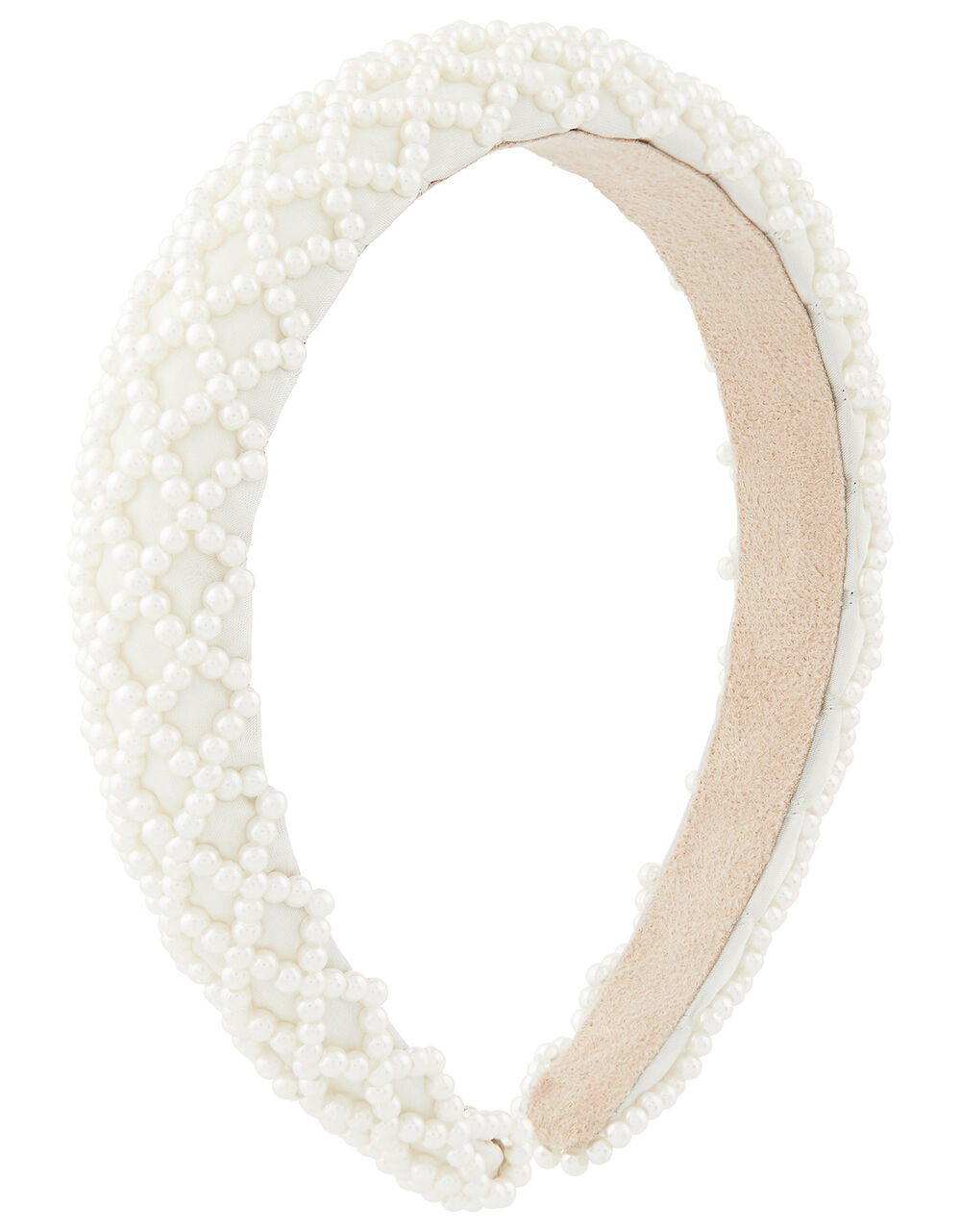 Padded Pearly Criss-Cross Headband, , large