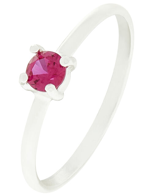 Sterling Silver Gem Stacking Ring, Red (RED), large
