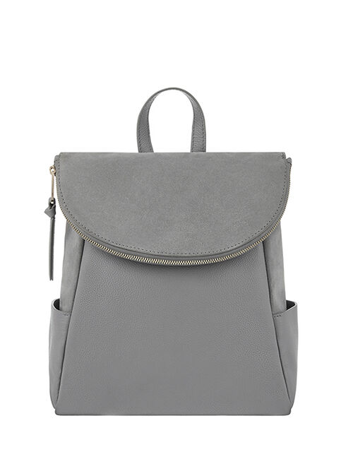 Isabel Zip Flap Leather Backpack, Grey (GREY), large