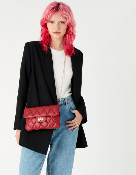 Quilted Clutch Bag Red, Red (RED), large