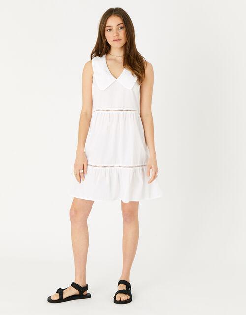 Collared Midi Dress, White (WHITE), large