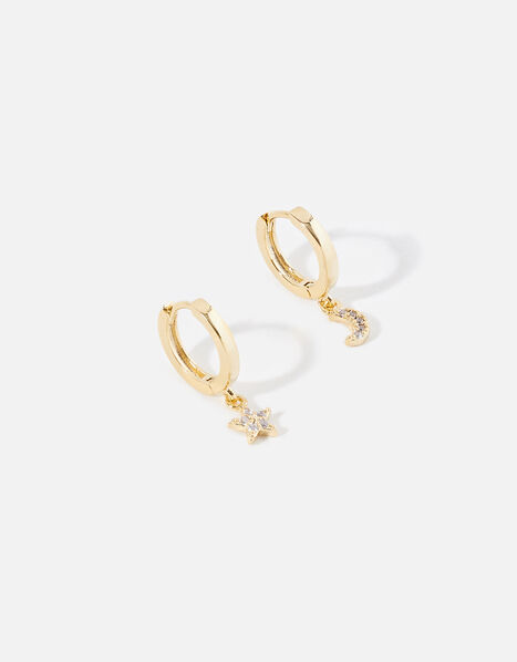 Gold-Plated Star Moon Huggie Hoops , , large