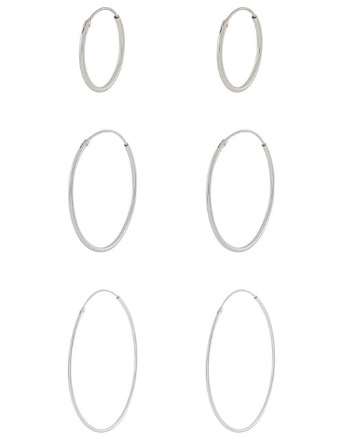 Sterling Silver Simple Hoop Set, , large