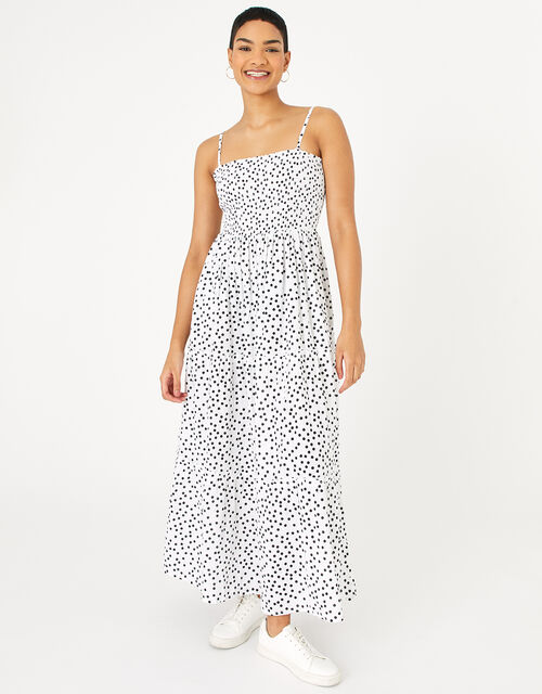 Spotty Maxi Bandeau Dress in Organic Cotton , Black (BLACK/WHITE), large