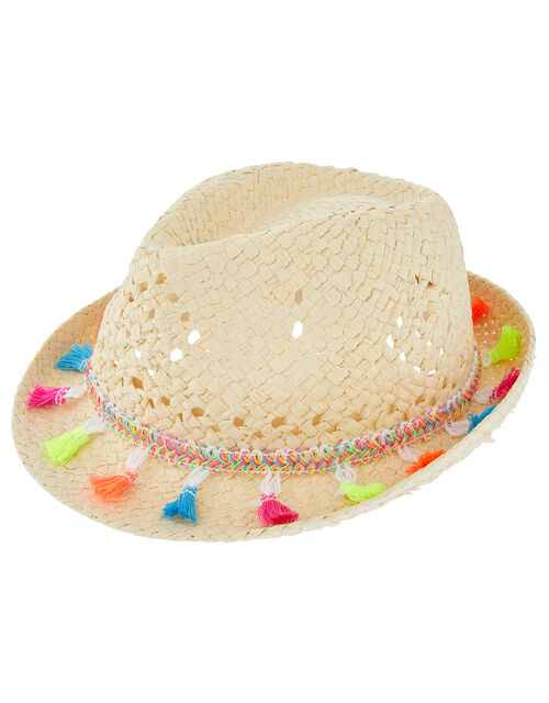 Coloured Tassel Lightweight Hat, Natural (NATURAL), large