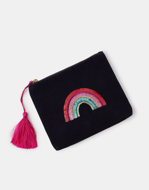 Embellished Rainbow Velvet Pouch Bag, , large