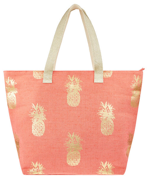 Metallic Pineapple Print Tote Bag, Orange (CORAL), large
