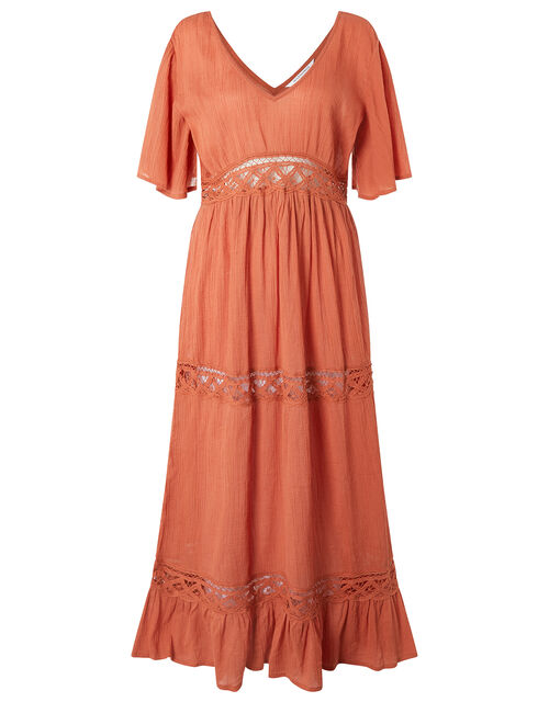 Lace Insert Maxi Dress, Orange (RUST), large