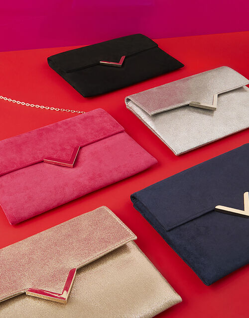 Natalie Suedette Clutch Bag, Pink (FUCHSIA), large