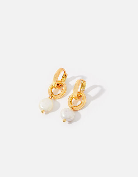 Gold-Plated Pearl and Chain Hoops, , large