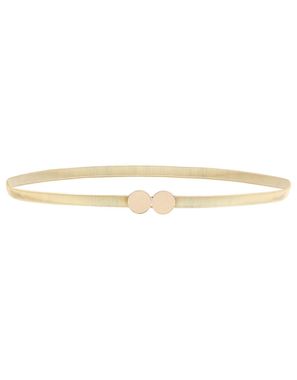 Metal Stretch Waist Belt, Gold (GOLD), large