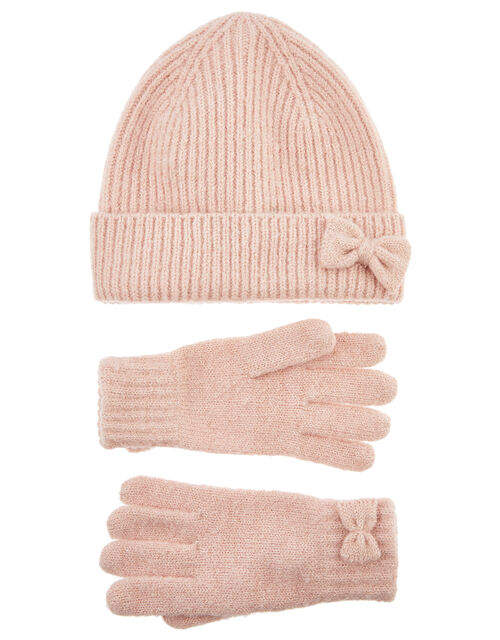 Bow Hat and Gloves Set, Pink (PINK), large