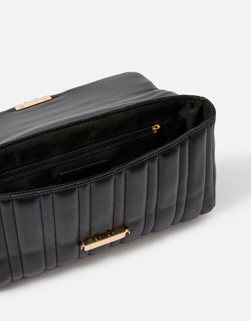 Carrie Chain Quilted Shoulder Bag , Black (BLACK), large