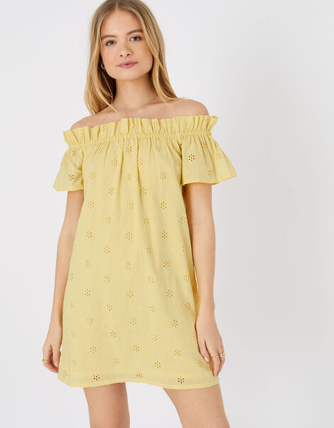 Schiffli Bardot Dress in Organic Cotton Yellow, Yellow (YELLOW), large