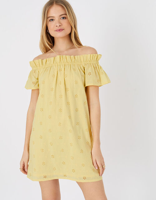 Schiffli Bardot Dress in Organic Cotton, Yellow (YELLOW), large