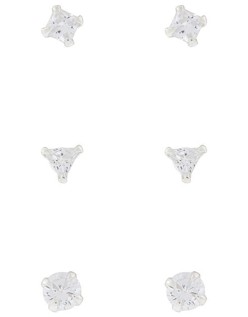 Sterling Silver Crystal Shapes Stud Earring Set, , large