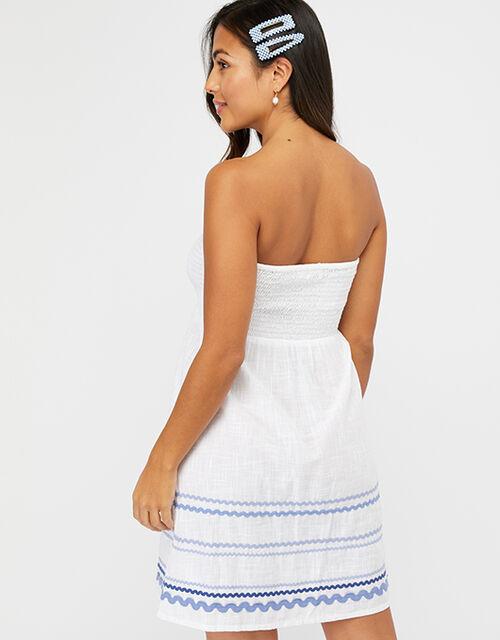 Cotton Bandeau Beach Dress, White (WHITE), large