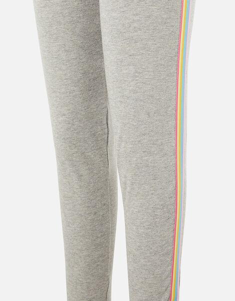Girls Rainbow Stripe Leggings Grey, Grey (GREY), large