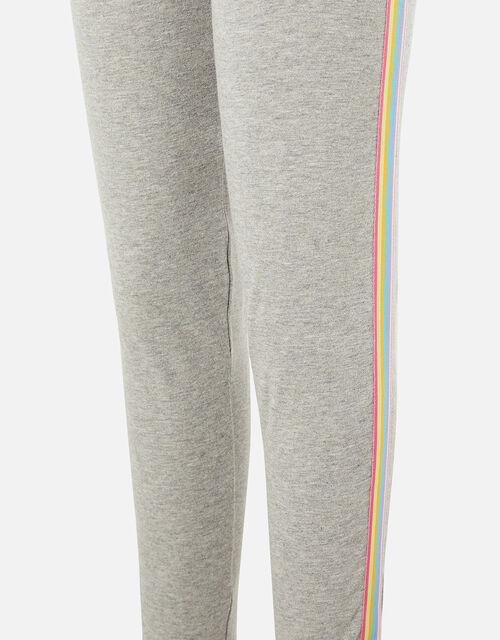 Rainbow Stripe Leggings, Grey (GREY), large