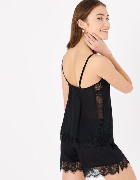 Lace Trim PJ Set Black, Black (BLACK), large