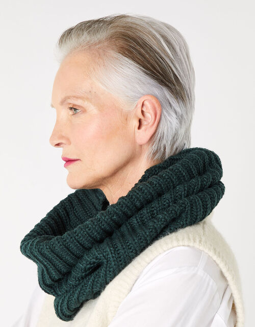 Chunky Knit Snood , Green (GREEN), large
