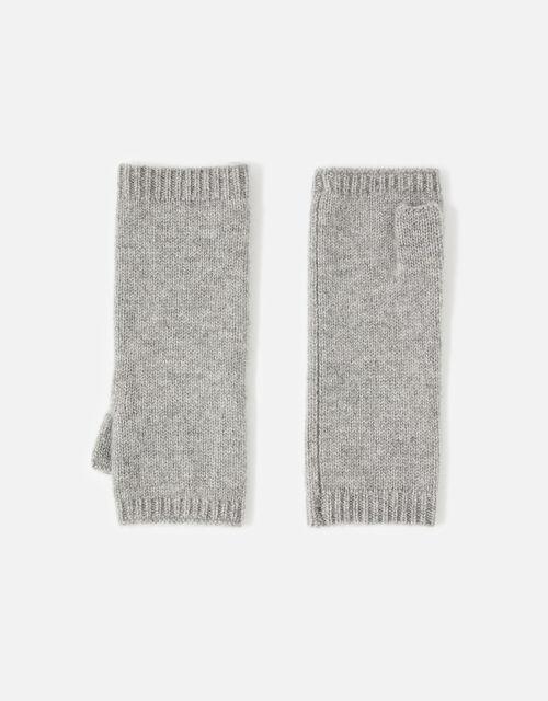 Longline Fingerless Gloves in Cashmere , Grey (GREY), large