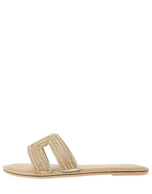 Bella Beaded Sliders, Gold (GOLD), large