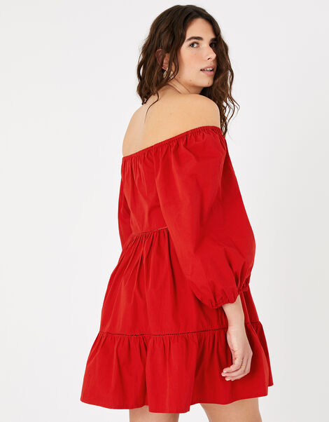 Puff Sleeve Dress in Organic Cotton Red, Red (RED), large